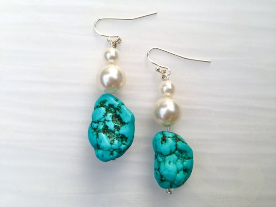 "Turquoise and Pearl Sterling Silver Dangle Earrings, ""Evelyn"" // Bridesmaid // Gifts for Her // Stocking Stuffer // Bride"