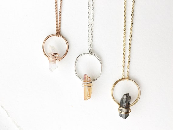 Quartz Halo Statement Necklace // Sterling Silver, 14k Rose Gold Plated, 14k Gold Plated //
