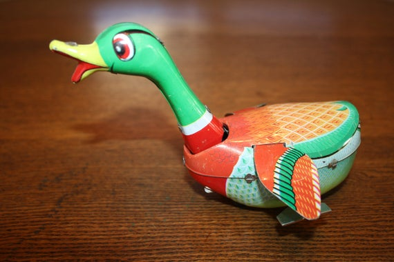 Vintage Tin Wind Up Swimming Duck Made in China   Etsy