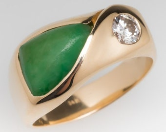 Vintage Jade Ring - Jadeite Jade Ring - Jade Band - Wide Band Ring - 14K Yellow Gold - WM10798