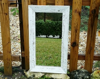 Rustic Mirror Reclaimed Barnwood Beach Nursery Cottage Chic
