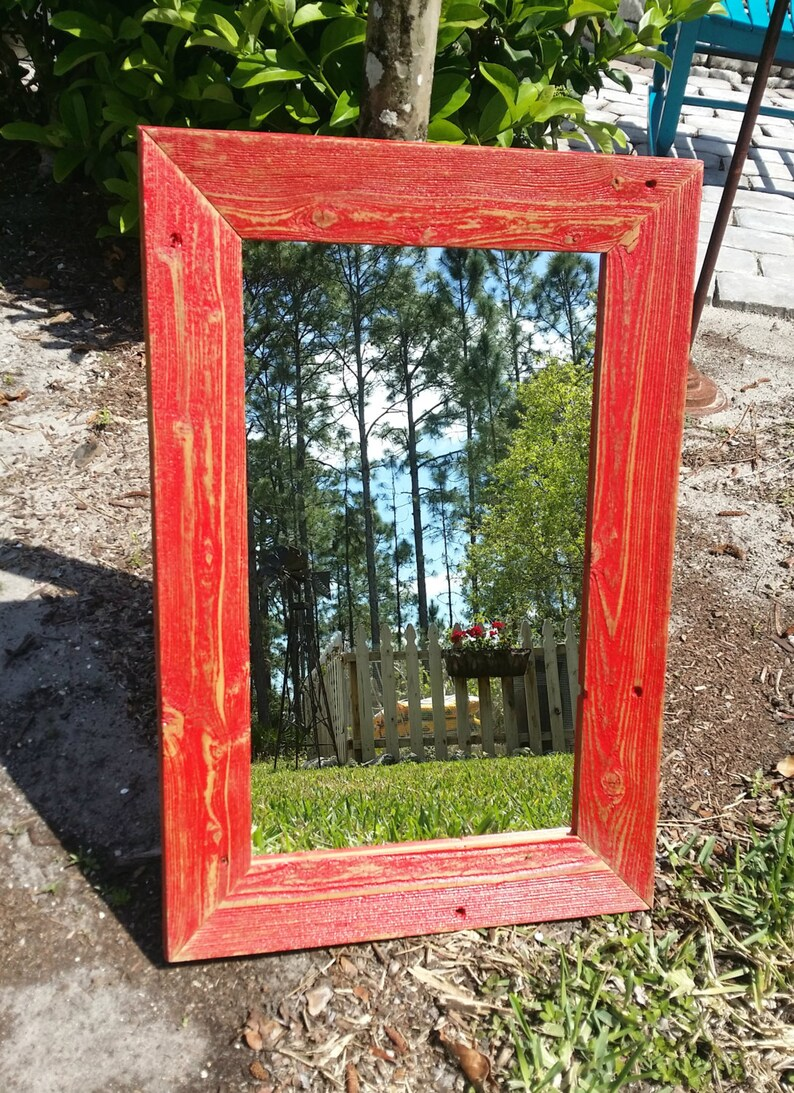 14fe65bb77c Reclaimed Wood Mirror Rustic Cottage Beach Chic Vanity Entry