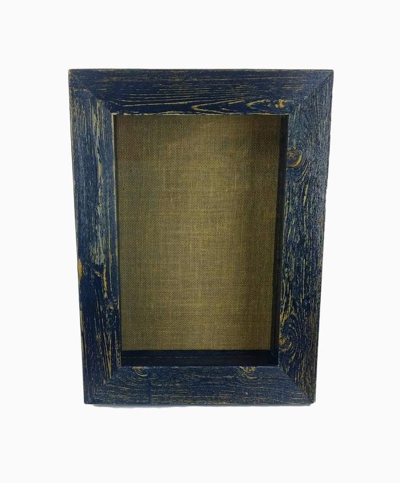 5d15c335612 Rustic Shadow Box Frame Burlap Beach Cottage Chic Wall Shelf