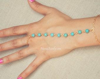 THE ADY - Gold Aqua Pearl Hand Jewelry Harem Bracelet Slave Boho Bohemian Gypsy Ring Indian Chain Spring Summer Festival