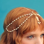 THE INDIA White Indian Chain Hair Jewelry Boho Festival Egyptian Head Chain Pendant Headpiece Beads Gold  bridal Hairstyle Pearls Christmas