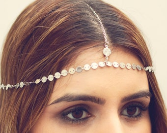 THE MOKSHA - Silver Small Coins Hair Chain Crystal Diamond Hair Jewelry Boho Festival Prom Wedding Headpiece head chain Spring summer