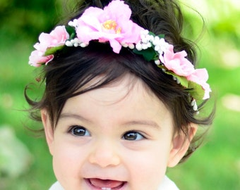 THE GWEN BABY - Pink Children's Flower Crown Vine Hair Accessories Flower Girl Boho Wedding Floral White Wreath Baby Hair Toddler Bow