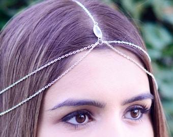 THE HERA Silver Hair Chain Crystal Diamond Hair Jewelry Sexy Head Boho Festival Prom Wedding Headpiece head chain  Festival Summer Christmas