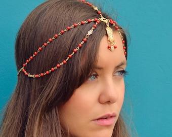 THE JASMINE Red Indian Chain Hair Jewelry Boho Festival Egyptian Head Chain Indian Pendant Mang Forhead Tikka Headpiece  Hair Christmas