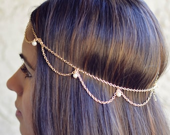 THE GATSBY - sale! Draped Cascading Pearl Hair Chain Jewelry Gold Hippie Boho Wedding Bridal Prom Grecian Godess Bridesmaid Spring Summer