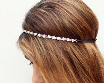 THE TIANA-Silver Crystal Gem Hair Chain Diamond Hair Jewelry Boho Festival Wedding Headpiece head chain Preppy Summer Headband Spring