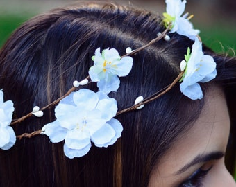 THE AVA - White Flower Crown Bridesmaid Prom Hippie Gypsy  Woodland Halo Floral Style Headband Hair Jewelry Hair Head Band Crown