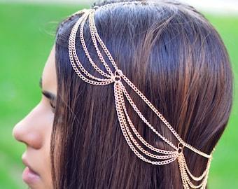 THE MIMI Gold Draped Multiple Hair Chain Jewelry Barrette Sexy Head Accessory Boho Kardashian Head Piece Prom Festival Valentines Christmas