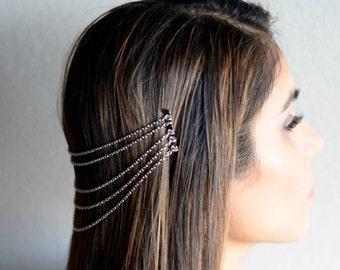 THE LARA Silver Hair Chain Jewelry Barrette Head Accessory Boho Festival Hippie Vintage Authentic Hair Jewelry Spring Summer Prom Headband