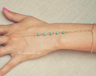THE Anahi - Gold Aqua Pearl Hand Jewelry Harem Bracelet Slave Boho Bohemian Gypsy Ring Indian Chain Spring Summer Festival