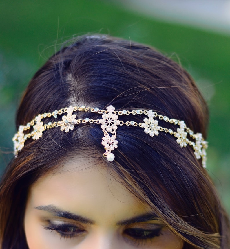 THE CELINE  Gold Flower Pearl Rhinestone Bridal Hairstyle image 0