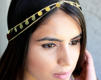 Crown Gypsy Gold Coin Hair Chain Jewelry Sexy Head Accessory Boho Kardashian Indian Wedding Headpiece head chain Summer Spring Headband