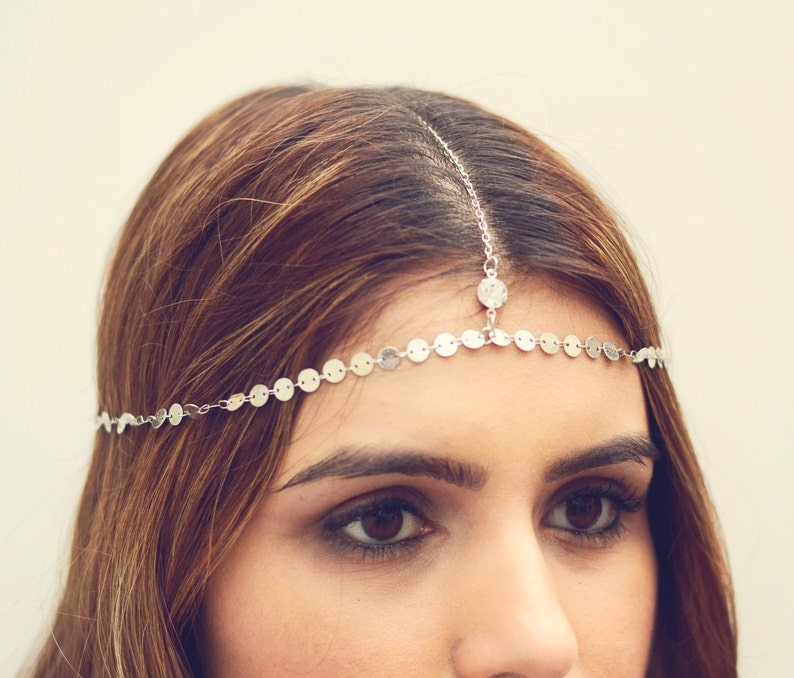 THE MOKSHA  Silver Small Coins Hair Chain Crystal Diamond image 0