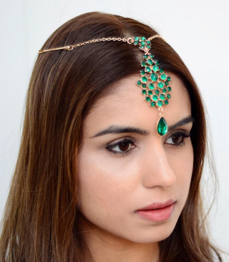 THE SAMIRA   Green Indian Hair Chain Tikka Jewelry Boho image 0