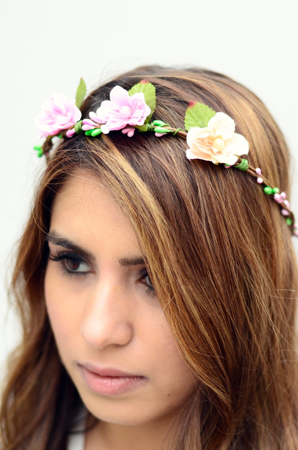 The clara sale bridal pink and orange flower crown floral etsy zoom izmirmasajfo