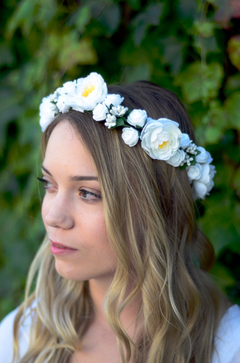 THE ARIA  Bridal White Flower Crown Floral Wreath Woodland image 0