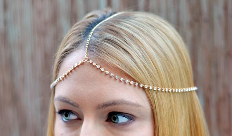 THE SYDNEY  Gold Rhinestones Festival Crown Gypsy Hair Chain image 0