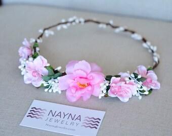 THE GWEN - Prom Pink Flower Crown Vine Hair Accessories Flower Girl  Boho Prom Wedding Floral White Spring  Garland Christmas Crown