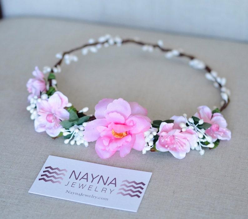 THE GWEN  Prom Pink Flower Crown Vine Hair Accessories Flower image 0