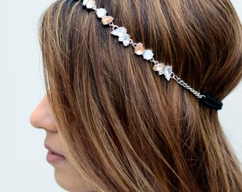 Silver Crystal Gem Elastic Hair Chain Diamond Hair Jewelry Boho Festival Wedding Headpiece head chain Spring Summer Headband Rhinestone