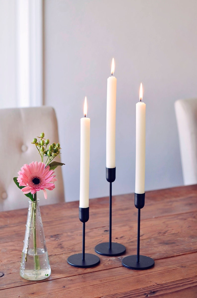 Modern Scandinavian Minimalist Tapered Black Candle Holder 3 image 0