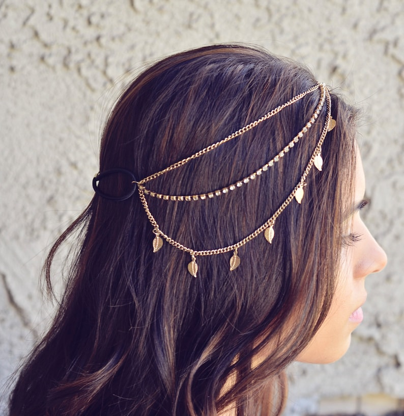 THE KARMA  Gold Leaves Rhinestone Indian Boho Bohemian image 0
