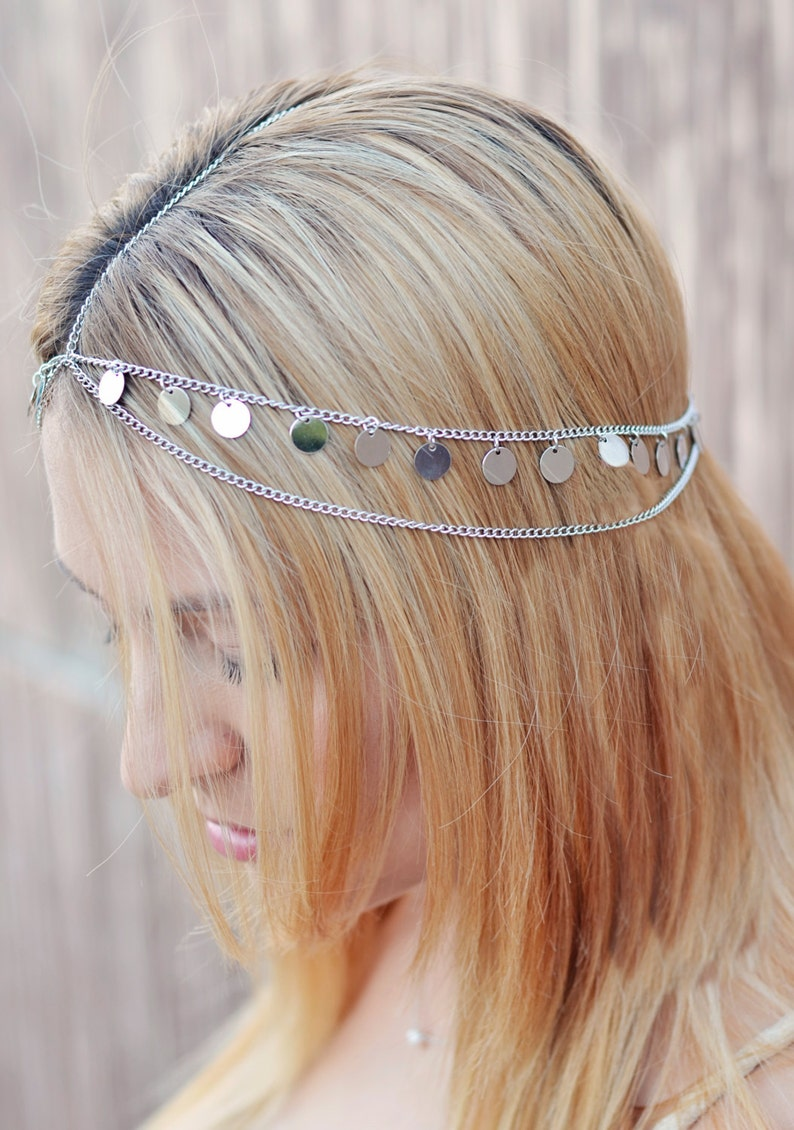 THE AURORA sale Silver Coin Crown Gypsy Hair Chain Jewelry image 0