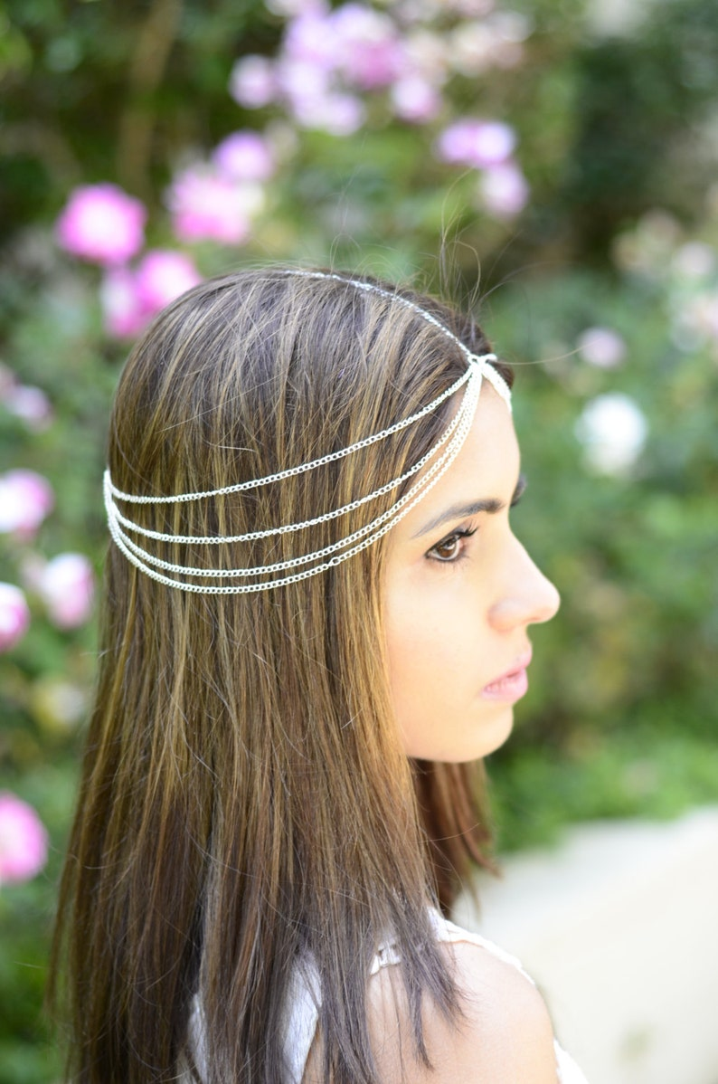 THE STELLA: Silver Draped Multiple Hair Chain Jewelry Barrette image 0