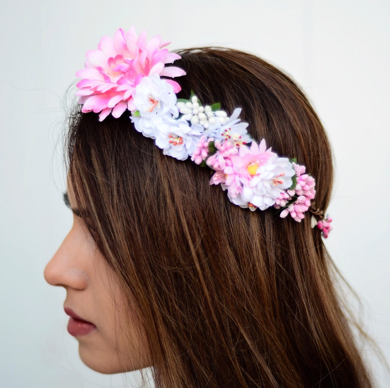 THE CORDELIA  Pink Flower Halo Crown Vine Flower Girl Hair image 0
