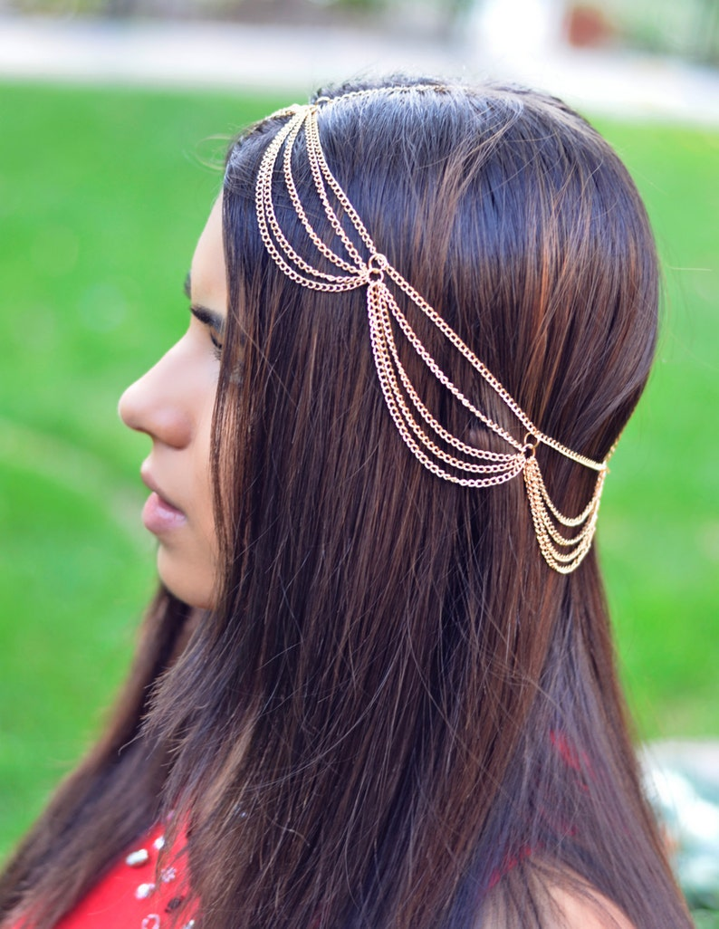 THE MIMI Gold Draped Multiple Hair Chain Jewelry Barrette Sexy image 0
