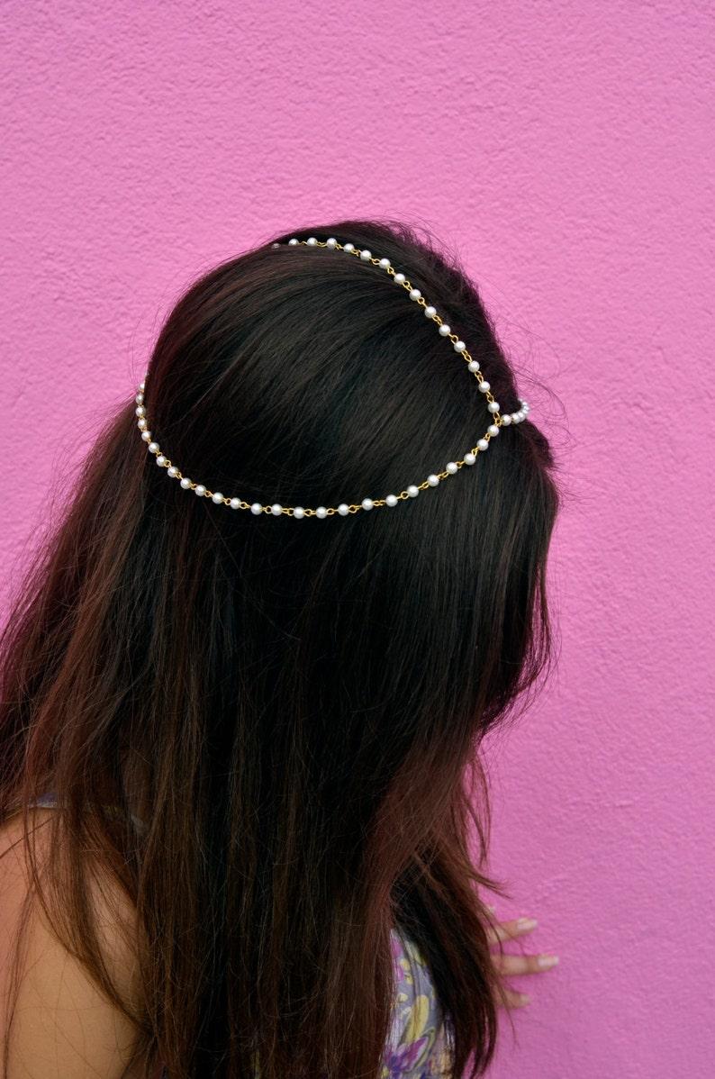 THE CHELSEA  White Pearl Gold Chain Crown Hair Chain Head image 0