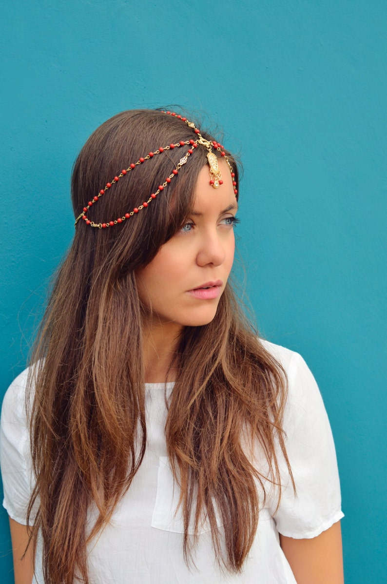 THE JASMINE Red Indian Chain Hair Jewelry Boho Festival image 0