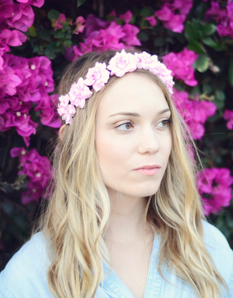 THE ALEXIA Pink Flower Rose Elastic Headband Cute Flower Hair image 0