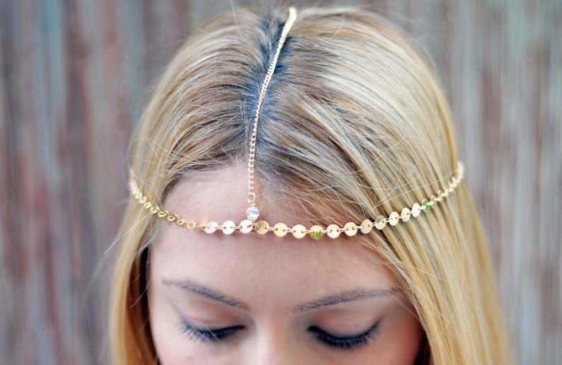 THE GOLDIE Small Coins Gold Hair Chain Crystal Diamond Hair image 0