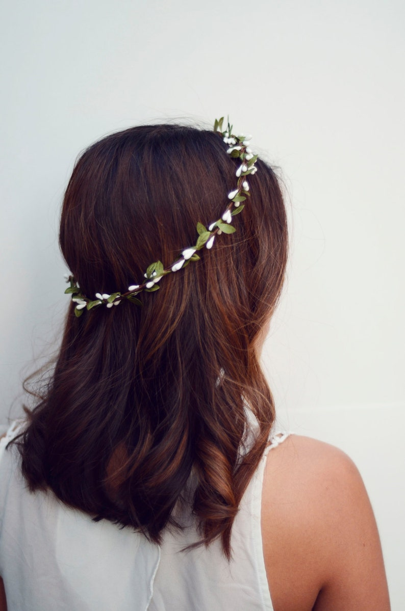 THE WENDY  White Sprout Leaf Woodland Wreath Halo Crown image 0