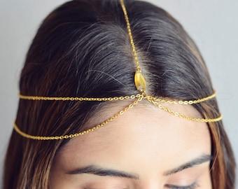 THE HERA Gold Hair Chain Crystal Diamond Hair Jewelry Sexy Head Boho Festival Prom Wedding Headpiece head chain  Festival Summer Christmas