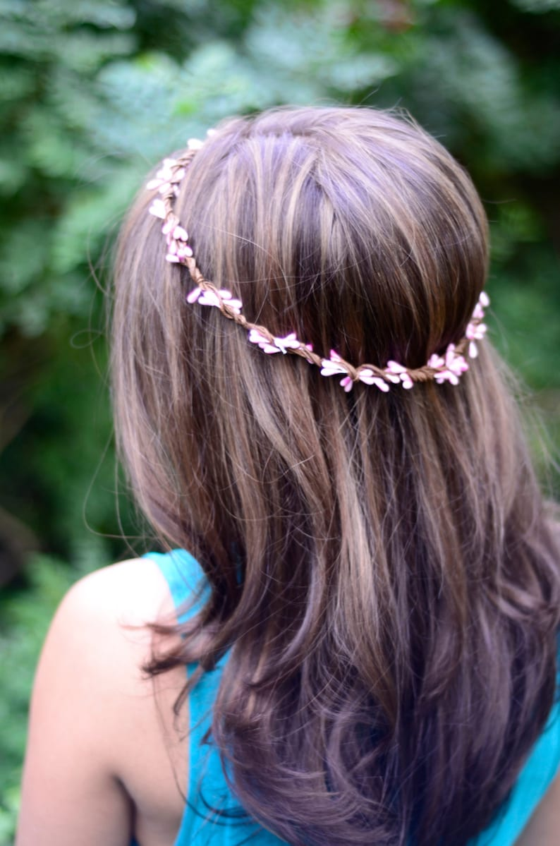 THE DAKOTA  Pink Sprout Woodland Wreath Halo Flower Girl image 0