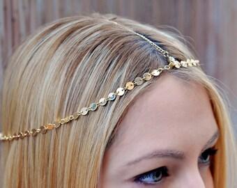 THE GOLDIE Gold Small Coins Hair Chain Crystal Diamond Hair Jewelry Boho Festival Wedding Headpiece head chain  Spring Summer Christmas