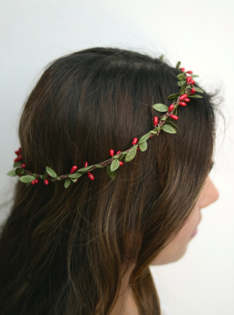THE ADAIRE  Red Green Crown Floral Hair Wreath Woodland image 0