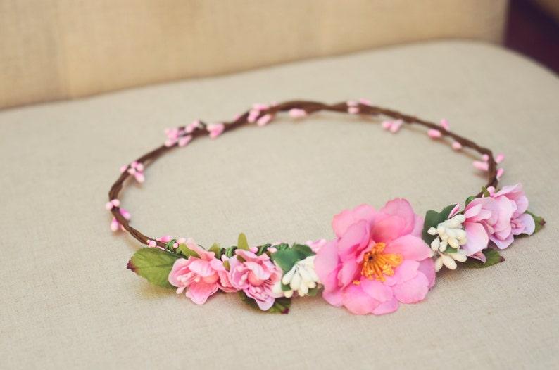 THE GWEN PINK Wedding Flower Crown Vine Hair Accessories image 0