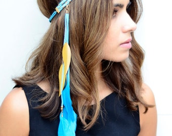 THE MARINA - Aqua Blue Gold Tribal Side Feather Headband, Bohemian, Hipster Festival Feather Headdress, Native American Headdress Pocahontas