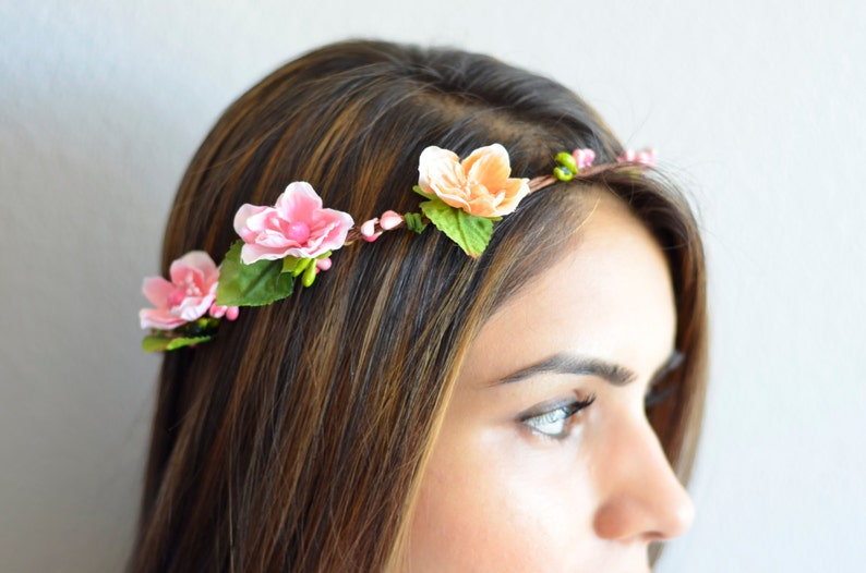 THE CLARA  sale NEW Bridal Pink Orange Flower Crown Floral image 0