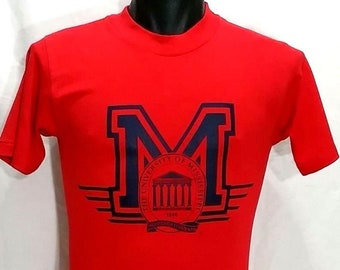Vintage University Of Mississippi T Shirt Size S/Small Vtg 80s Ole Miss Rebels On Behalf Of KNOWLEDGE And WISDOM Tee  Deadstock