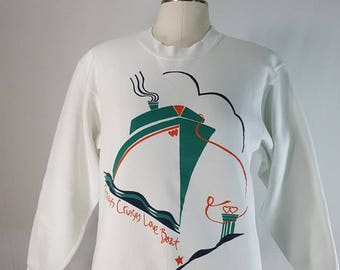 Vintage Princess Cruises Love Boat Sweatshirt L Vtg 80s 90s Art Deco Cruise Ship Graphic Crewneck
