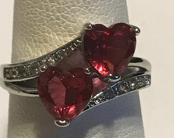 Pink Sapphire Diamond Heart Ring Sz 75 Zales 925 Sterling Silver Vintage Jewelry Bridal Wedding Promise Birthday Christmas Holiday Gift